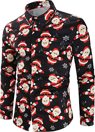 NPRADLA Clearence Men Casual Snowflakes Santa Candy Daily Casual Shirts Printed Christmas Single Breasted Shirt Top Blouse