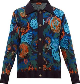 Missoni Floral-jacquard Wool-blend Cardigan - Mens - Burgundy