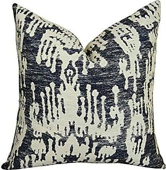 Plutus Brands Plutus Painted Ikat Handmade Throw Pillow 16 x 16 Navy Cream