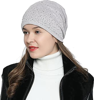 DonDon Womens Slouch Beanie with strass rhinestones and soft inner lining - Light grey