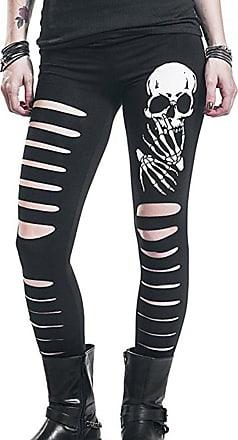 Hellomiko Womens Fashion Skull Head Printed Pant Black Skinny Trousers Ripped Holes Pencil Pants Comfortable Elastic Waist Slim Fit Leggings
