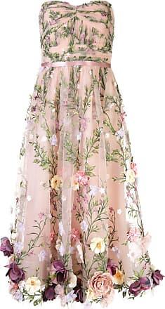 Marchesa floral appliqué midi gown - NEUTRALS