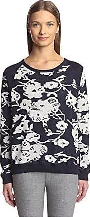 Joan Vass Womens Floral Sweater, Indigo, L