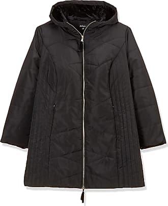 Ulla Popken Womens Steppmantel mit Samtbesatz und Handschuhen Coat, Black (Black 10), UK 28