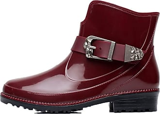 Generic Women Rain Boots Lightweight Round Toe Flat Casual Shoes Winter Waterproof Anti Slip Ladies Buckle Strap Ankle Boot Red