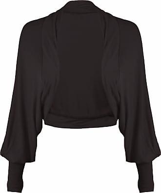 Momo & Ayat Fashions Ladies Batwing Sleeve Plain Cropped Bolero Shrug Size 8-26 (M/L (UK 12-14), Black)