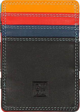 DuDu Portafoglio Magico Uomo Magic Wallet in Pelle Multicolore Colorato con 6 Slot Carte di credito Nero