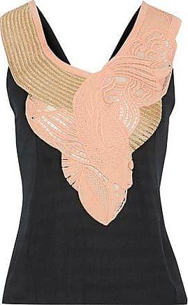 9d8426a326 Balmain Pierre Balmain Woman Metallic Guipure Lace-paneled Jersey Top Black  Size 34
