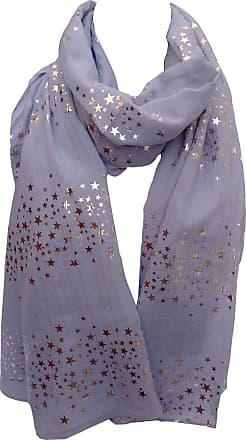 GlamLondon Galaxy Scarf Rose Gold Glitter Foil Stars Print Ladies Party Wedding Fashion Wrap (Silver Grey)(Size: L)