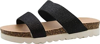 Saute Styles Ladies Womens Summer Beach Flat Strap Chunky Shimmer Sliders Mules Sandals Shoes 5 Black