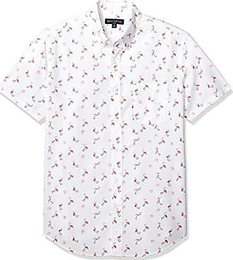 J.crew Mens Slim-Fit Short-Sleeve Stretch Printed Shirt, Flamingo Flock, L