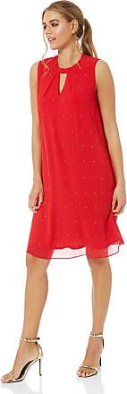 Roman Originals Women Embellished Chiffon Swing Dress - Ladies Party Christmas New Years Eve Layered Knee Length Sleeveless Pretty Hotfix Summer - Red - Size 12
