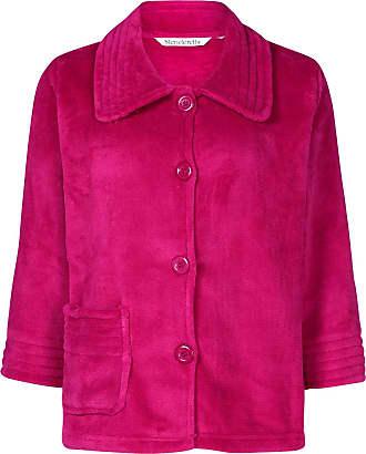 Slenderella Womens Button Up Soft Fleece Bed Jacket Housecoat with Pocket Medium (Raspberry)