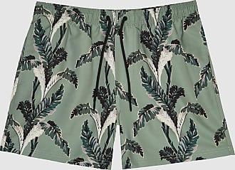 Reiss Palm - Palm Tree Print Swim Shorts in Sage, Mens, Size XXL