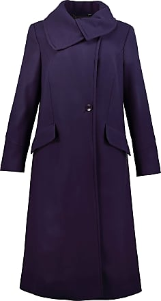 Ulla Popken Womens Plus Size Long Feminine Dress Coat Grey Violet 24 726173 16-50