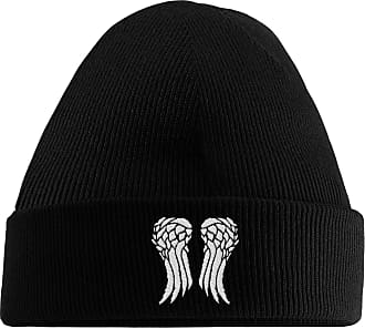 HippoWarehouse Daryl Wings Embroidered Beanie Hat Black