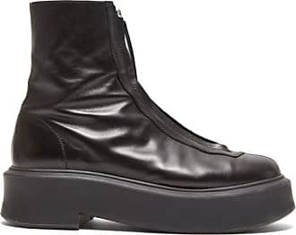 The Row Zip-front Leather Ankle Boots - Womens - Black