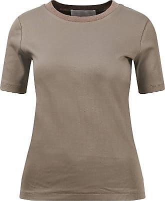 Fabiana Filippi Baumwoll T-Shirt aus Rippstrick Braun