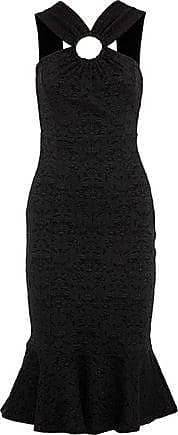 Opening Ceremony Opening Ceremony Woman Fluted Ring-embellished Cloqué-jacquard Midi Dress Black Size XS