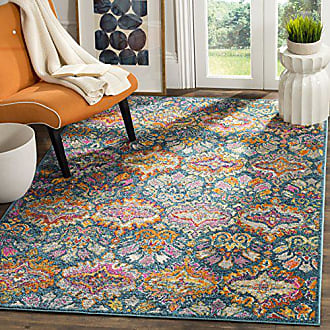 Safavieh Madison Collection MAD144A Blue and Orange Bohemian Chic Damask Area Rug (67 Square)