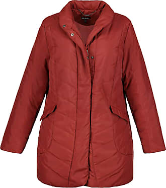 Ulla Popken Womens Plus Size Stand-Up Collar Quilted Jacket Red Brown 28/30 717693 29-54+
