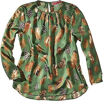 Franken & Cie. Blouse silk featherprint, green