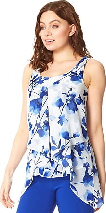Roman Originals Women Floral Print Sleeveless Asymmetric Top - Ladies Round Neck Smart Casual Flattering Light Blouse for Summer Holiday Evening Special Occasions Top