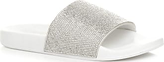 Ajvani Womens Ladies Diamante Sparkly Sliders Sandals flip Flops Slippers Size 4 37 White