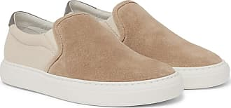 Brunello Cucinelli Suede And Canvas Slip-on Sneakers - Sand