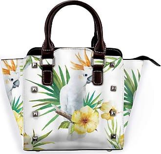 Browncin Parrot Hibiscus With Bird Intelligent Mimic Animals Creatures Wild Regions Artwork Detachable Fashion Trend Ladies Handbag Shoulder Bag Messenger Bags
