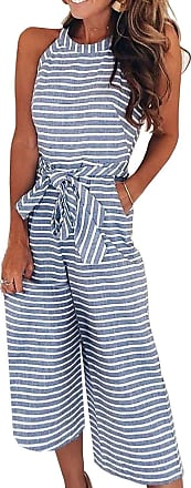 FeelinGirl Womens Striped Jumpsuits High Waisted with Belt All in one Playsuit (Blue, UK 16-18 XXL)