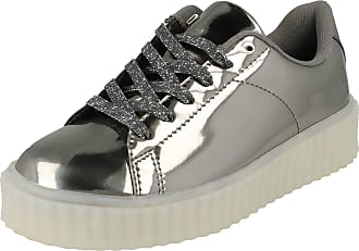 Spot On Ladies Spot On Casual Lace Up LED Outsole Creeper Trainers F80189 - Pewter Synthetic - UK Size 4 - EU Size 37 - US Size 6
