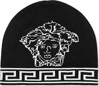 80043fca816 Versace Logo-intarsia Wool And Silk-blend Beanie - Black