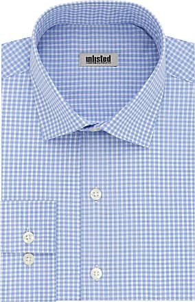 Unlisted by Kenneth Cole mensDress Shirt Slim Fit Checks and Stripes (Patterned) Spread Collar Long Sleeve Dress Shirt - Blue - 16-16.5 Neck 32-33 Sleeve (Large)