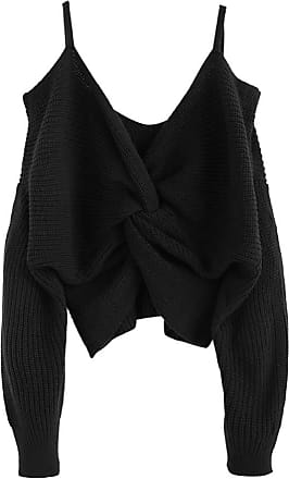 Zaful Womens Sexy Strapless Shoulder Knotted Loose Knitted Jumper Tumblr Sling Top Short Jumper - Black - M