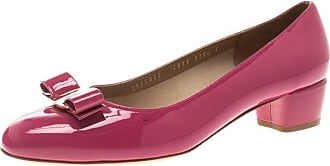 bb7dbe698388 Salvatore Ferragamo Pink Patent Leather Vara Bow Block Heel Pumps Size 41