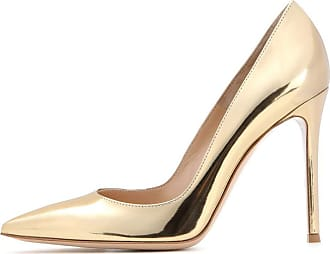 EDEFS Womens Court Shoes Stiletto High Heels Slip On Pumps Pointed Toe Shoes Classic Gold Size EU44