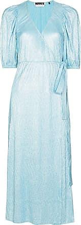 Rotate Vestido envelope Frida metálico - Azul