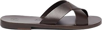 ÁLVARO GONZÁLEZ Antonio Crossover Strap Leather Sandals - Mens - Brown