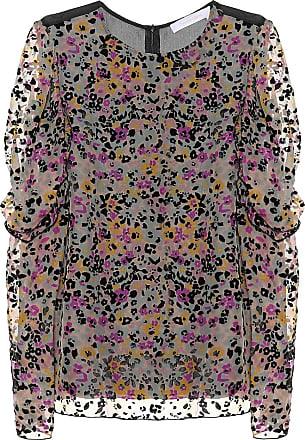 See By Chloé Flocked velvet printed silk top