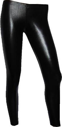 Insanity Metallic Wet Look Leggings (XL) Black