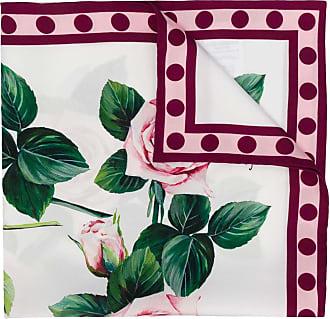 Dolce & Gabbana Seidenschal mit Rosen-Print - Weiß