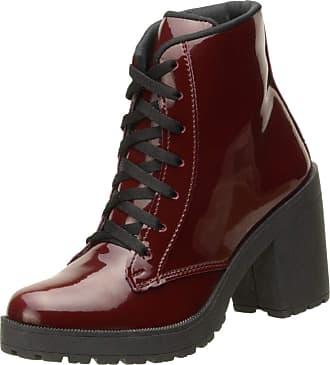 Generico Bota Feminina Modelo Ankle Boot Cano Curto Top Line material ecologico DD30 (35, vinho verniz)