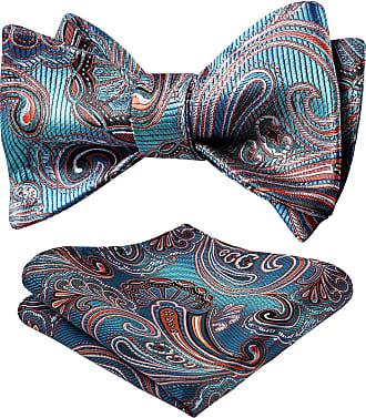 Hisdern Mens Paisley Jacquard Wedding Party Self Bow Tie Pocket Square Set One Size Aqua/Orange