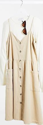 Monki Louise - Vestito di jeans lavaggio acido in cotone organico giallo