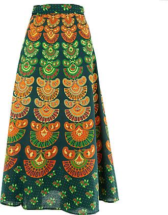 Loud Elephant Long Maxi Wrap Skirt with Block Print Mandala - Dark Green