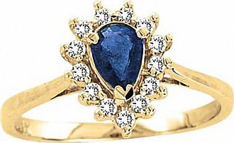 Zales Pear-Shaped Blue Sapphire and 1/8 CT. T.w. Diamond Engagement Ring in 14K Gold