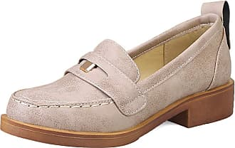 Mediffen Loafers Shoes Classic Women Round Toe Mid Heels Pumps Comfort Female Block Heels Pumps Retro Loafers Slip On Apricot Size 42 Asian