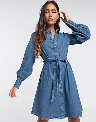 Vero Moda Vestito di jeans con maniche a palloncino blu