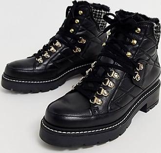 Kurt Geiger Kurt Geiger black leather and tweed mix lace up flat hiker boots
